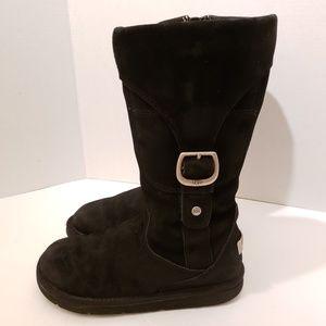 UGG Australia Cargo III Black Leather Tall Boots 7